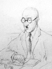 [ilustração: Alberto Cutileiro. Retrato de Pessoa no Martinho da Arcada. Ago. 1934.]