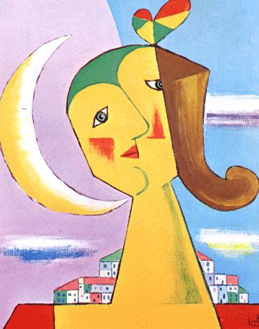 Júlio (1902-1983). «Cabeça de mulher e lua». 1973. Col. Família do Autor, Vila do Conde.